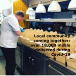 Local businesses and community coming together to deliver over 18,000 meals since lockdown began - co-ordinated by Helping Hands Community Project