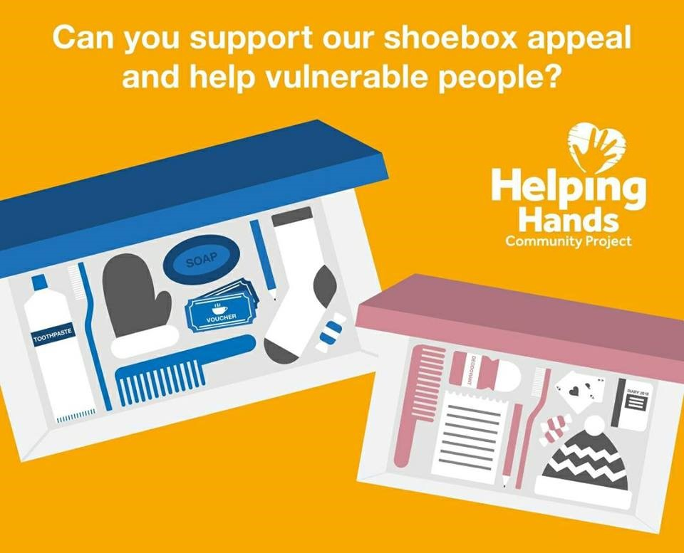 We are collecting shoe boxes again this Winter to brighten the day & support those locally in need.